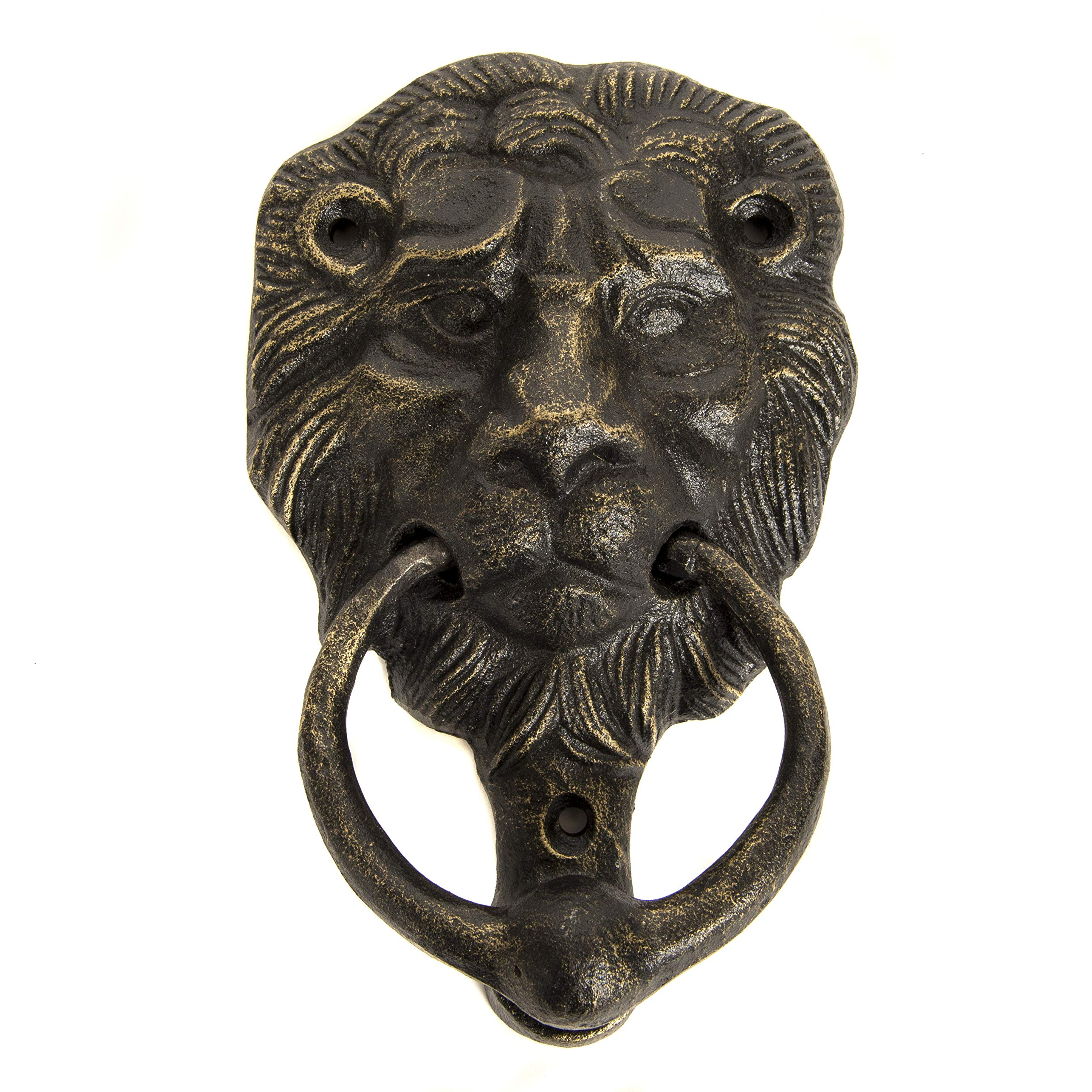 Cast Iron Lions Head Door Knocker Bronze with Screws 6''W X 4''W 4733