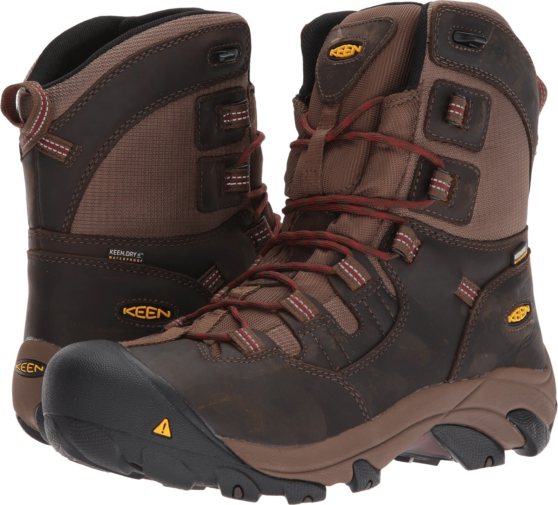 KEEN Utility Men's Detroit 8'' Soft Toe Waterproof Industrial and Construction Shoe, Dark Earth/Burnt Henna, 10.5 D US