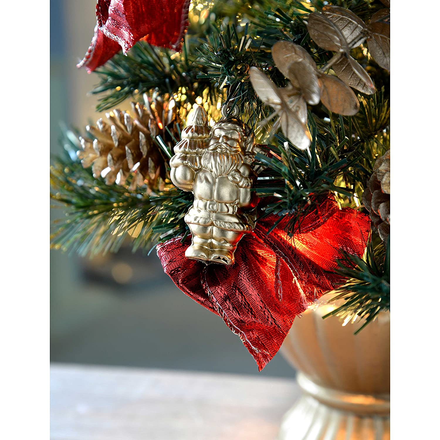 Werchristmas Pre Lit Decorated Christmas Tree Table Decoration, 2 Feet60 Cm