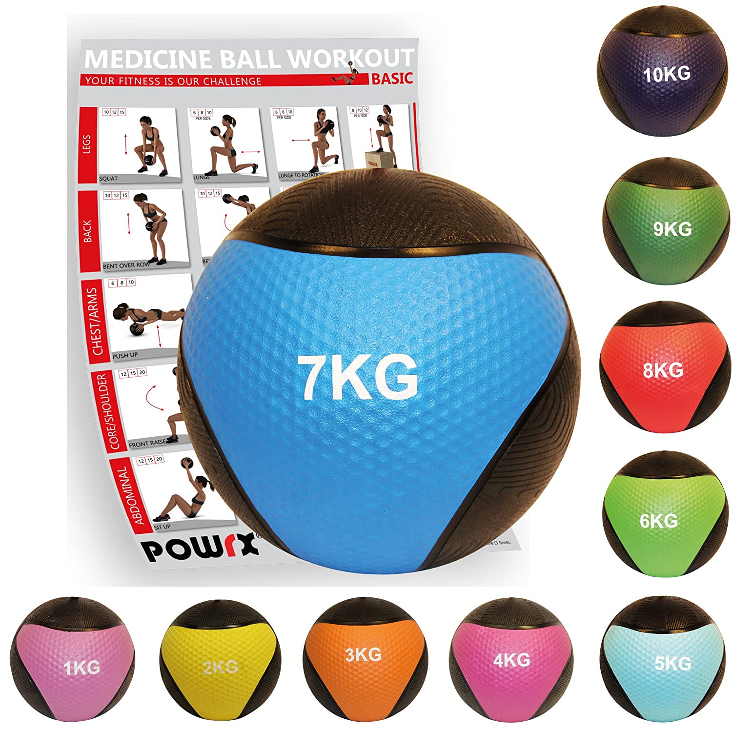 POWRX - Balón Medicinal 7 kg + PDF Workout (BLU): Amazon.es ...