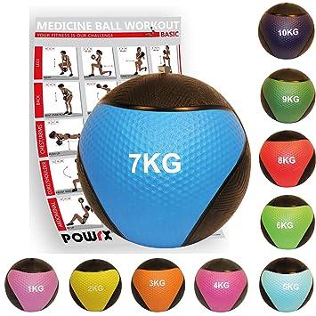 POWRX - Balón Medicinal 7 kg + PDF Workout (BLU): Amazon.es ...