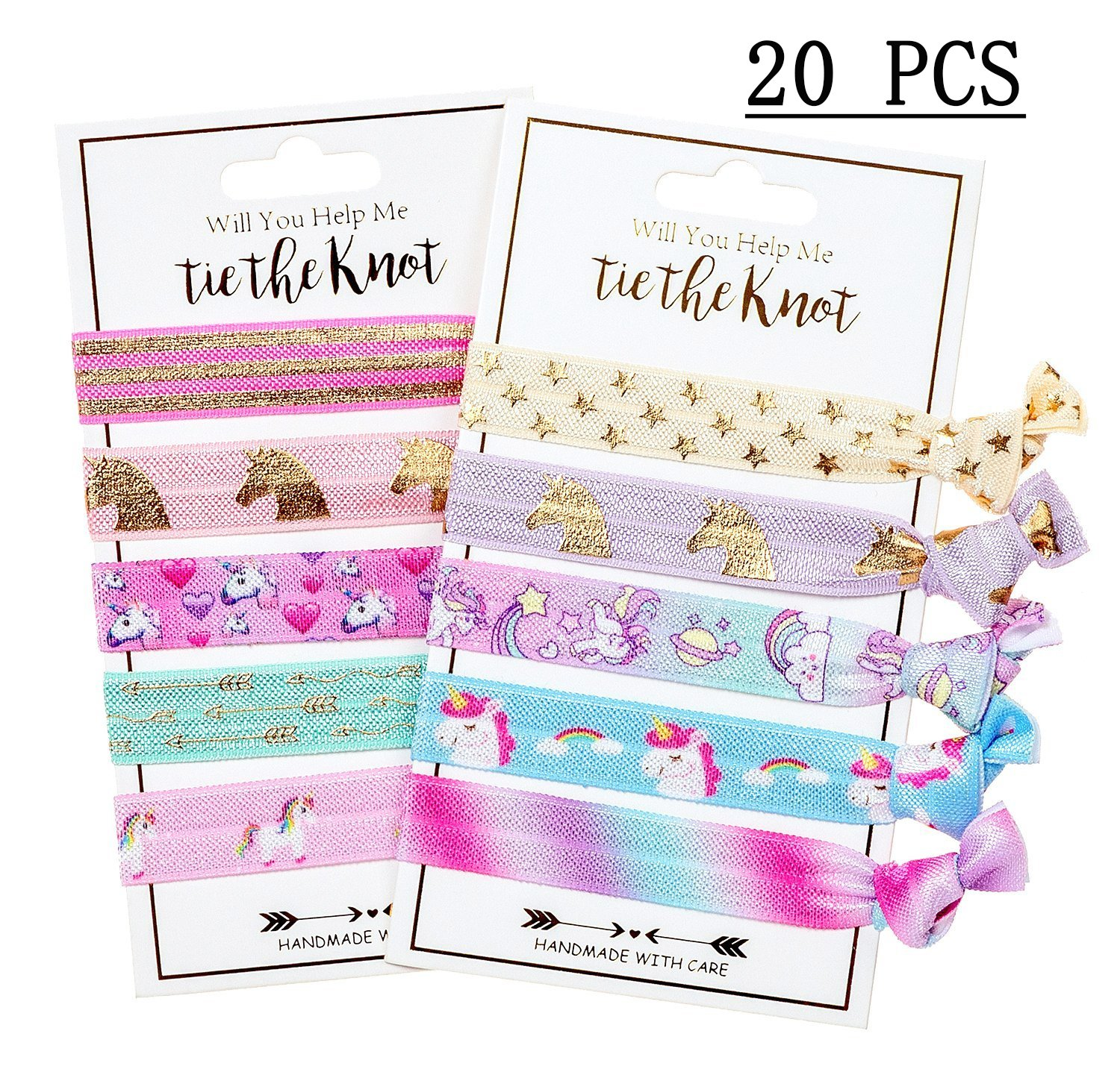 Unicorn Hair Ties Party Favors Birthday Gifts Supplies - Girls Elastic Ponytail Holders Decorations