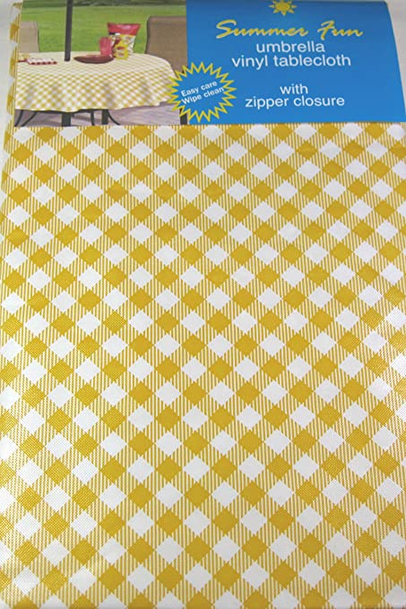 52 x 70 Oblong Summer Fun Yellow and White Diamond Check Flannel Back Vinyl Umbrella Tablecloths with Hole and Zipper-assorted Sizes