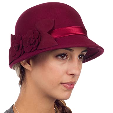 Sakkas 0941LC Vintage Style 100% Wool Cloche Bell Hat with Flower Accent -  Burgandy One Size at Amazon Women s Clothing store  Novelty T Shirts 220a7bf08642