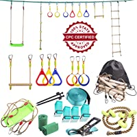Ninja Line Backyard Obstacle Training Course 50' Slackline – The Most Complete Hanging Monkey Bars kit for Kids with Ladder, Rope and Swing - Portable Training Equipment Gift Set for Kids (Turquoise)