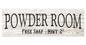 Powder Room Rustic Wood Wall Sign 6x18 (White)