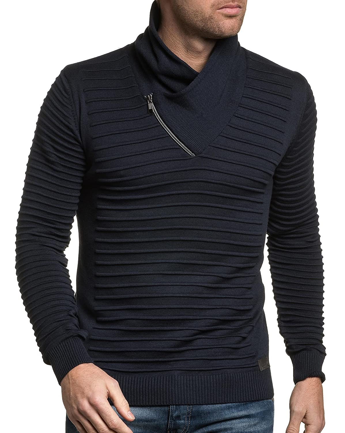 BLZ jeans - Pullover navy man band collar embossed amount
