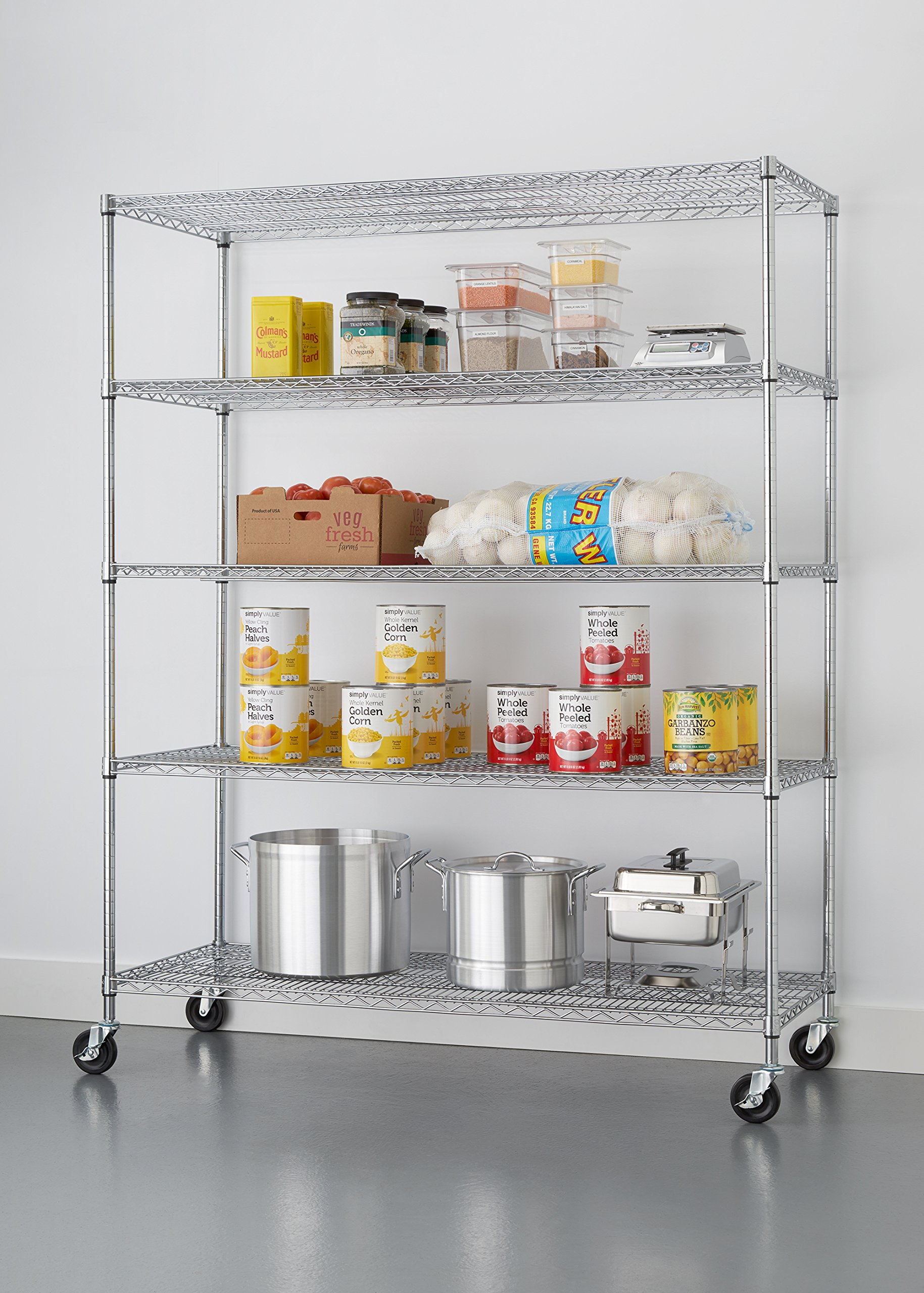 TRINITY 5-Tier NSF Heavy Duty X-Large Wire Shelving Rack with Wheels, 60 by 24 by 72-Inch, Chrome by Trinity (Image #2)