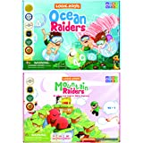 Logic Roots Addition Games - Pack of 2, Mountain Raiders and Ocean Raiders, Math Board Games and STEM Toys for 5- 9 Year Olds