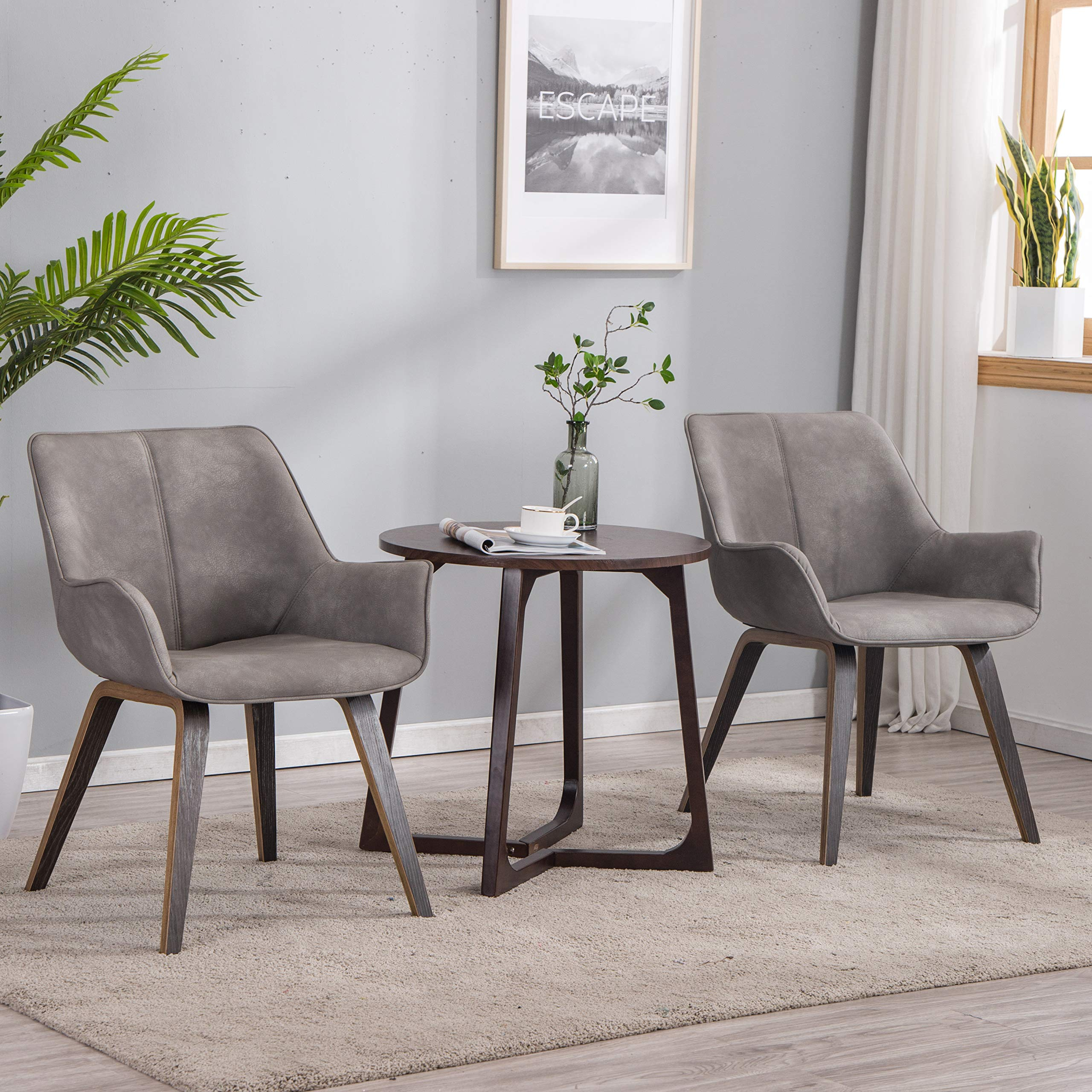 YEEFY Gray Leather Living Room Room Chairs with arms Contemporary Living Room Chairs Set of 2 (Ashen) by YEEFY