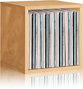 Way Basics Extra Large Cube Stackable LP Album Shelf, Vinyl Record Storage (Tool-Free Assembly and Uniquely Crafted from Sustainable Non Toxic zBoard Paperboard), Natural