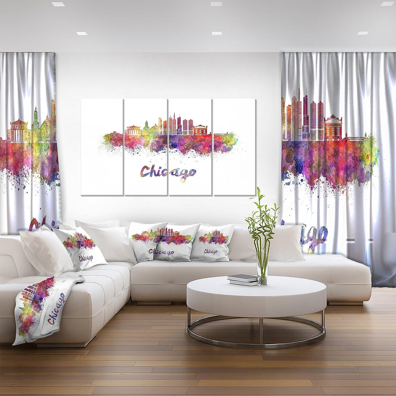 28 H/x/48 W/x/1 D 4P Designart Colorful Chicago Skyline in Watercolor-Cityscape Canvas print-48x28 4 Piece-PT10102-271