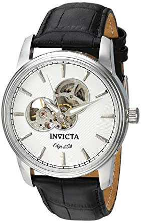 Invicta Mens Objet D Art Automatic Stainless Steel and Leather Casual Watch, Color