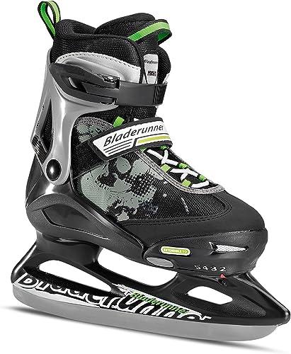 Rollerblade Bladerunner Kids Ice Skates, Black Green, Size 2-5