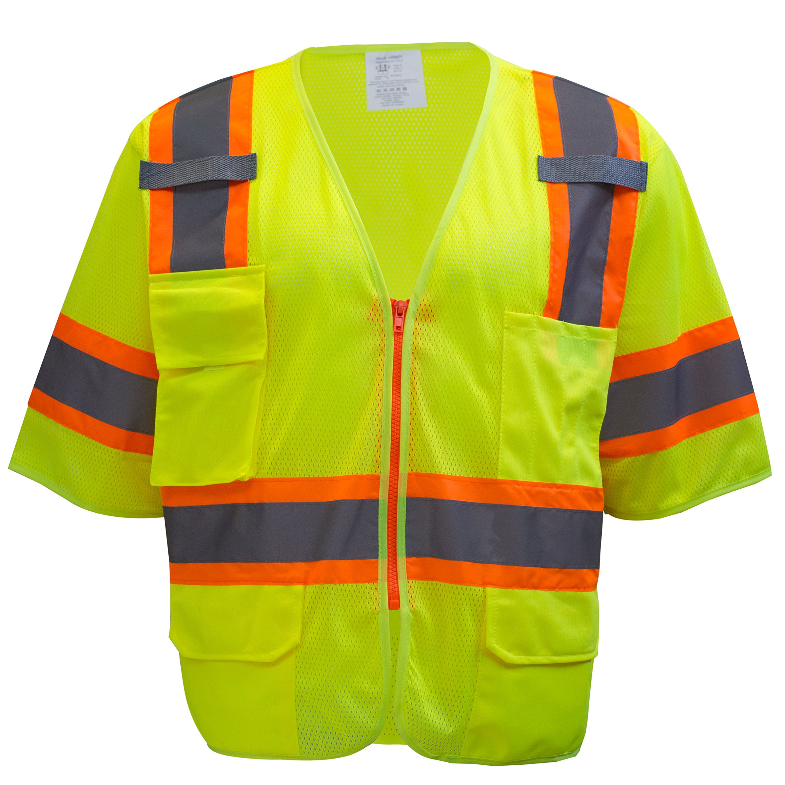 RK-Safety MV7812 Class 3 Two Tones High Visibility Reflective Strips Breathable Ployester Mesh Vest W/Pockets | ANSI ISEA 107-2015 Certified (Large, Lime)