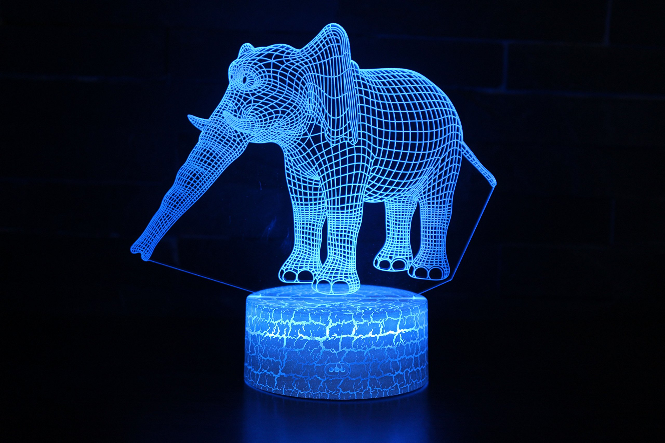 Long Nose Elephant Toys Visual 3D Lamp 2D Night Light Touch W/USB Cable Birthday Christmas Gift for Boys Kids Adult Acrylic Table Furniture Decorative Colorful 7 Color Change Household Accessories
