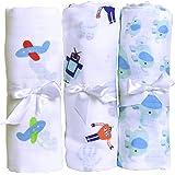 Premium Muslin Baby Swaddle Blanket For Deeper & Better Sleep. 3 Pack Cotton Baby Blankets Blue For Nursing, Receiving & Swaddling. Calms Cranky Newborn Boys. Baby Shower Gift for New moms.