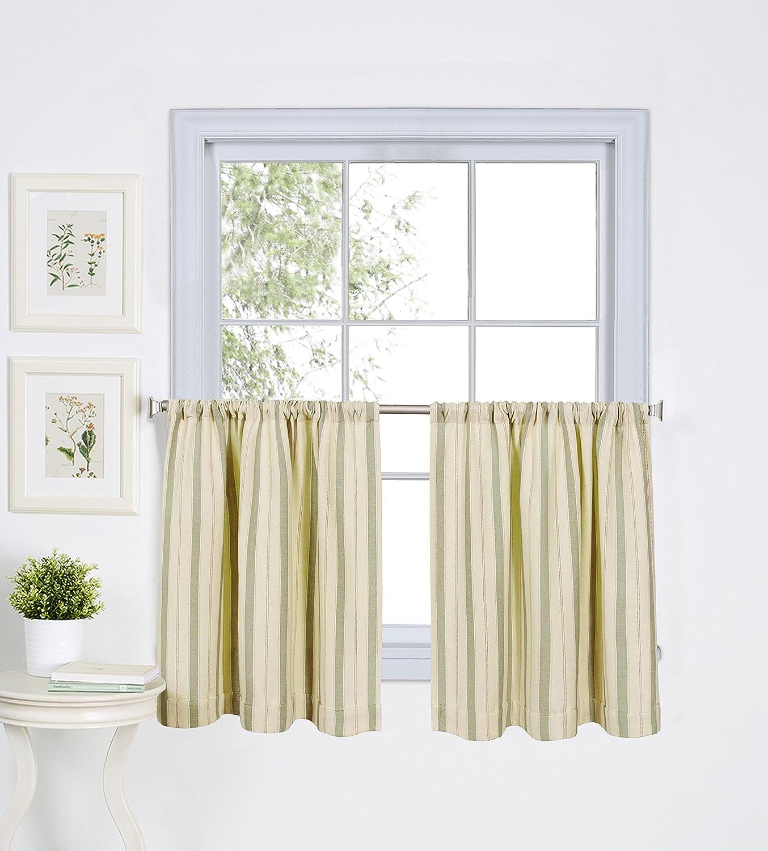 "Elrene Home Fashions 26865775266 Rod Pocket Stripe Kitchen/Café Tier Window Curtain, Set of 2, 30"" x 24"", Sage"