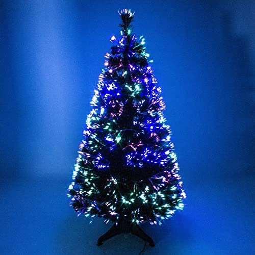 4ft green artificial fibre optic christmas xmas tree with multi led source 120cm by the christmas