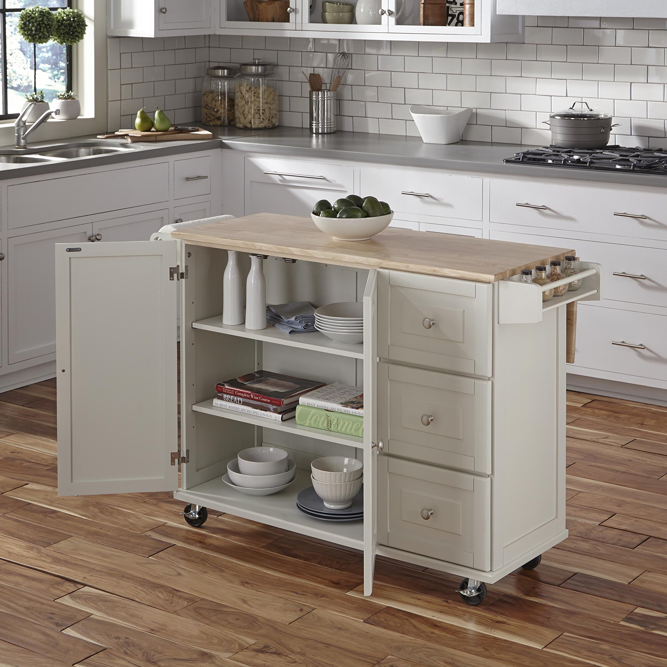 Home Styles 4511-95 Liberty Kitchen Cart with Wood Top, White by Home Styles (Image #5)