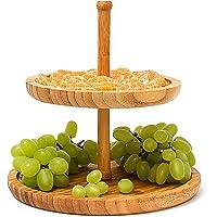 Relaxdays Bandeja Circular de 2 Niveles, Bambú, Medidas: