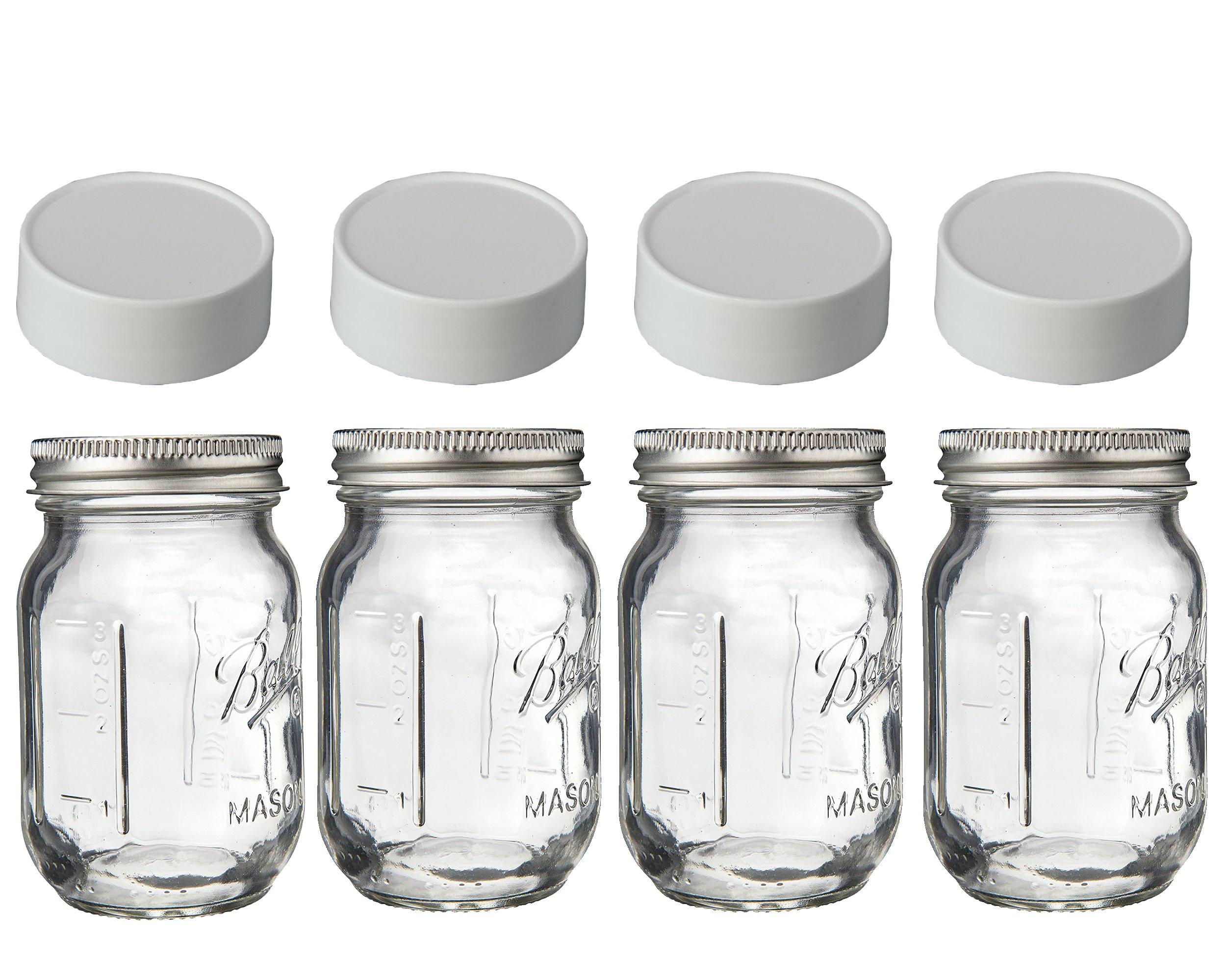 Mini Mason Spice Jars with Plastic Storage Lid 4oz (white)
