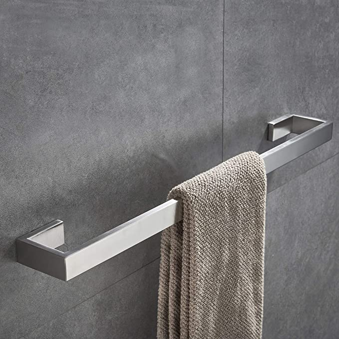 Junsun Square Towel Bar 24 Inch Stainless Steel Towel Holder Bathroom Accessories Square Bathroom Bars Towel Rack Bathroom Hardware Wall Mounted Stainless Steel Brushed Nickel Home Kitchen Amazon Com