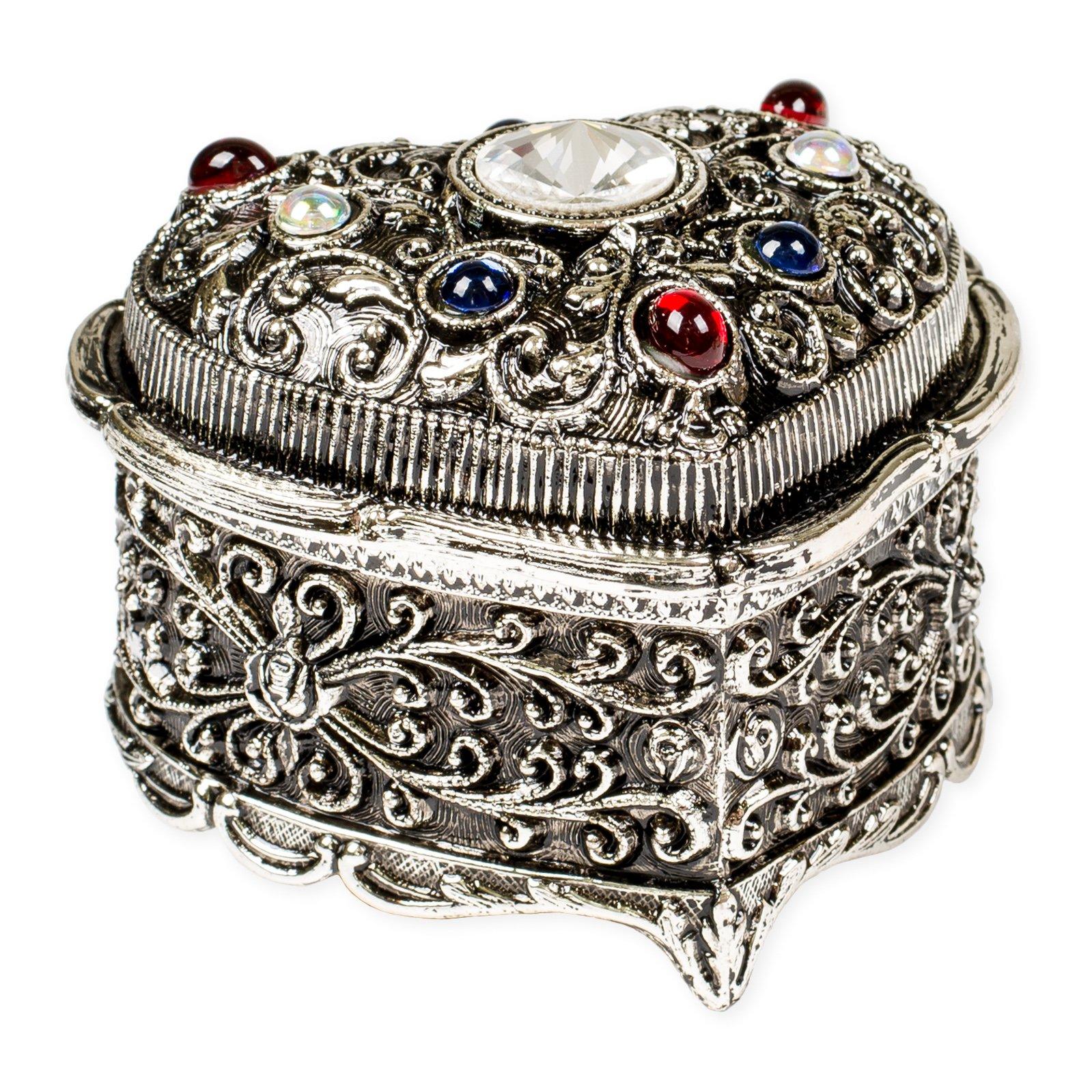 Heart Shaped Swarovski Crystal Jewel Silver Tone Metal Music Box Plays Tune My Heart Will Go On