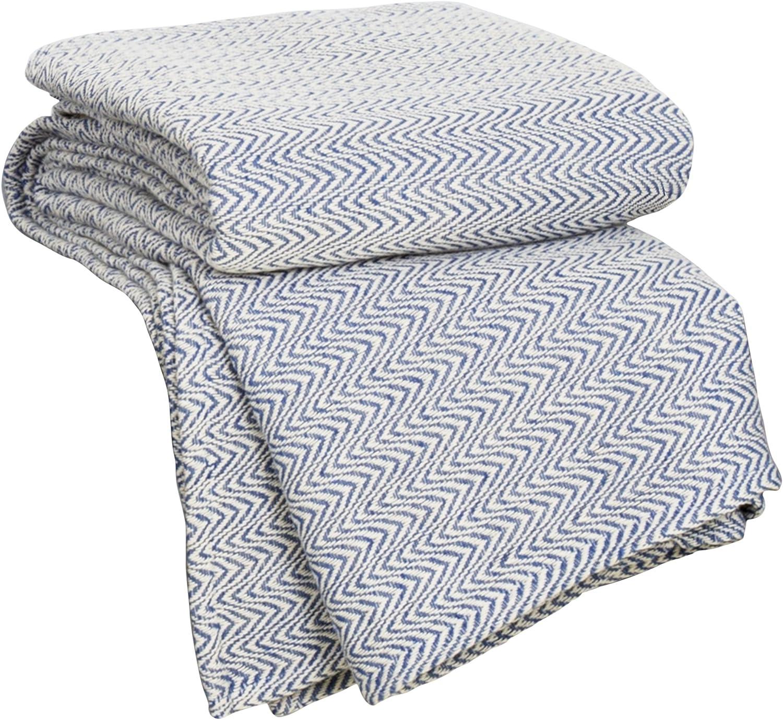 Lavish Home Chevron 100Percent Egyptian Cotton Blanket - Full/Queen - Blue