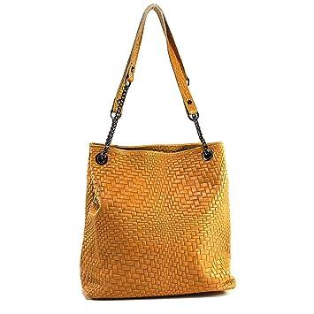 cca11a0e7595 Echt Leder Handtasche mit Kette Schultertasche Geflochten Damentasche Cognac