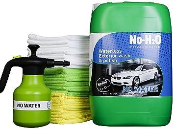 No-H2O Pro Kit incluido para 5 litros botellas de lavado y polaco + 1,25 L aerosol dispensador + 20 gamuza de microfibra: Amazon.es: Coche y moto