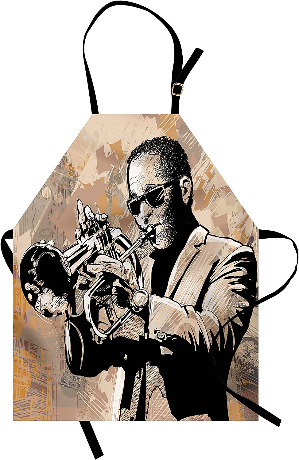Ambesonne Jazz Music Apron, Grunge Style Illustration of Musician with Sunglasses Playing Trumpet, Unisex Kitchen Bib with Adjustable Neck for Cooking Gardening, Adult Size, Beige Black