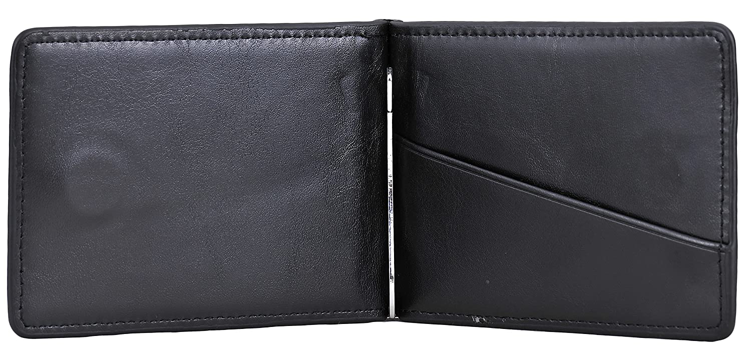 Black Yuhan Pretty RFID Mens Slim Bifold Wallet Wallet Wallet Leather Front Pocket Wallet Money Clip 10c195