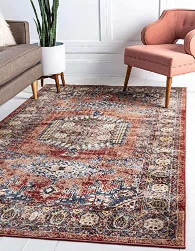 Unique Loom Utopia Collection Traditional Geometric Tribal Warm Tones Terracotta Area Rug 8' 0 x 10' 0
