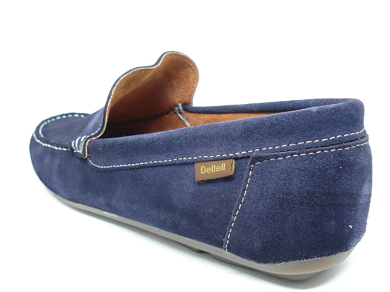 Zapato casual hombre tipo mocasin DELTELL en piel serraje color Azul ...