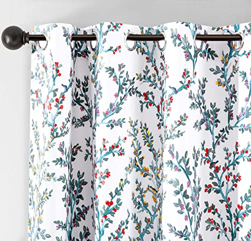 DriftAway Jasmine Watercolor Flower Floral Branch Botanical Lined Thermal Insulated Blackout Room Darkening Grommet Energy Saving Window Curtains 2 Layers 2 Panels Each Size 52 by 84 Inch Multi