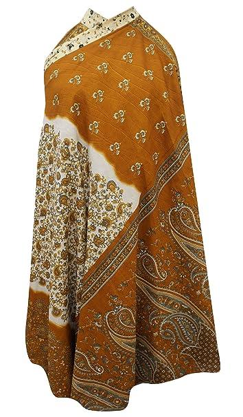 Seda pura magia reversible del abrigo de la impresión floral del Hippie falda de las mujeres de la sari de la vendimia: Amazon.es: Ropa y accesorios