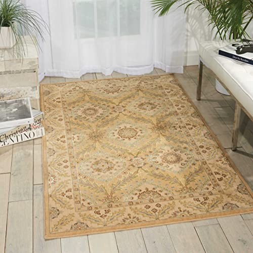 Nourison Persian Empire Light Gold Rectangle Area Rug, 7-Feet 9-Inches by 10-Feet 10-Inches 7 9 x 10 10