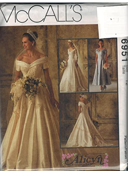 Amazon.com: 6951 McCalls Sewing Pattern UNCUT Misses Wedding Gown ...