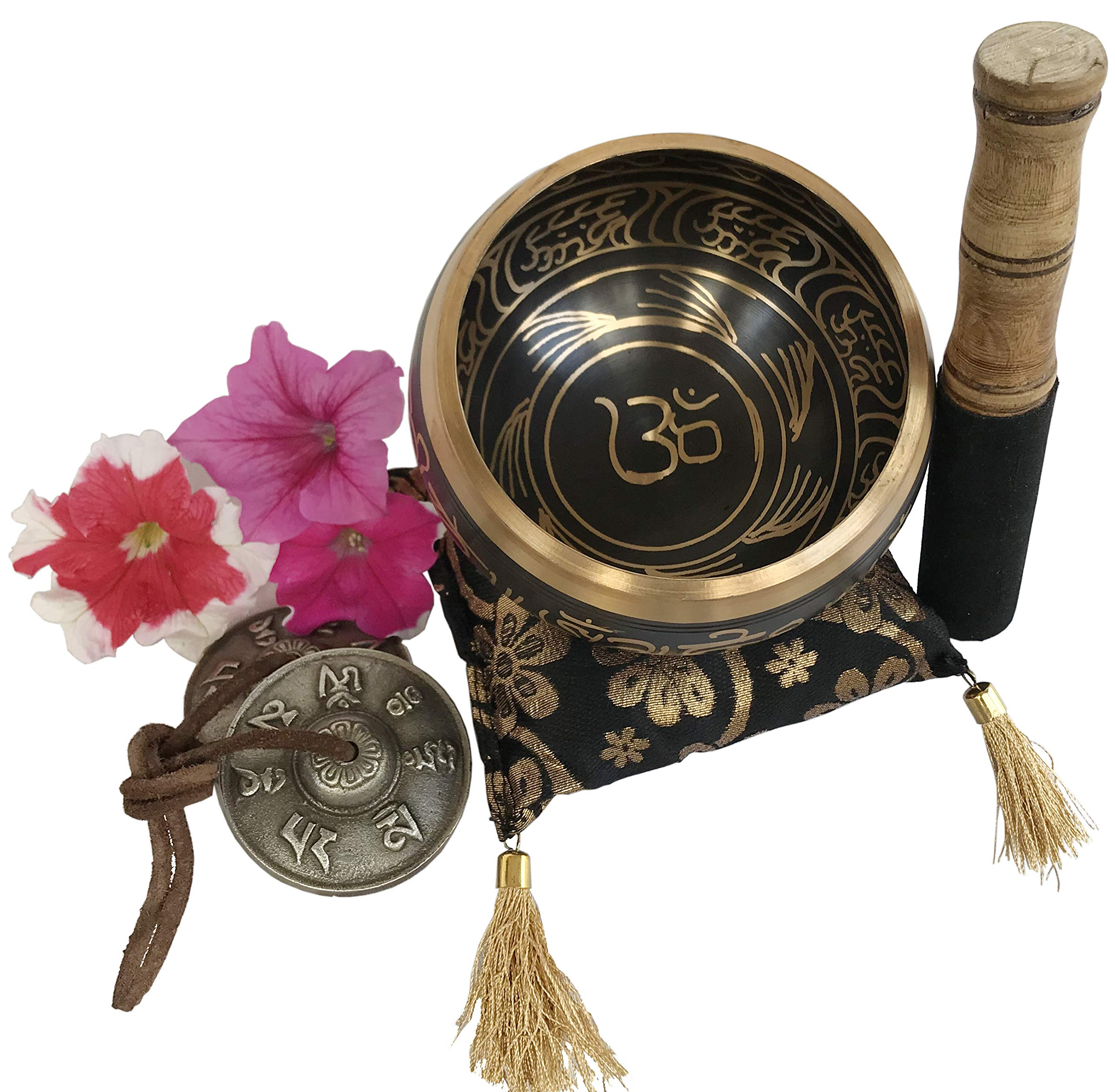 Large Silent Mind Design Tibetan Singing Bowl Tingsha Cymbals Set - With Mallet and Cushion, Additional Gifts Inside - for Yoga, Meditation, Buddhist Prayer and Chakra Healing