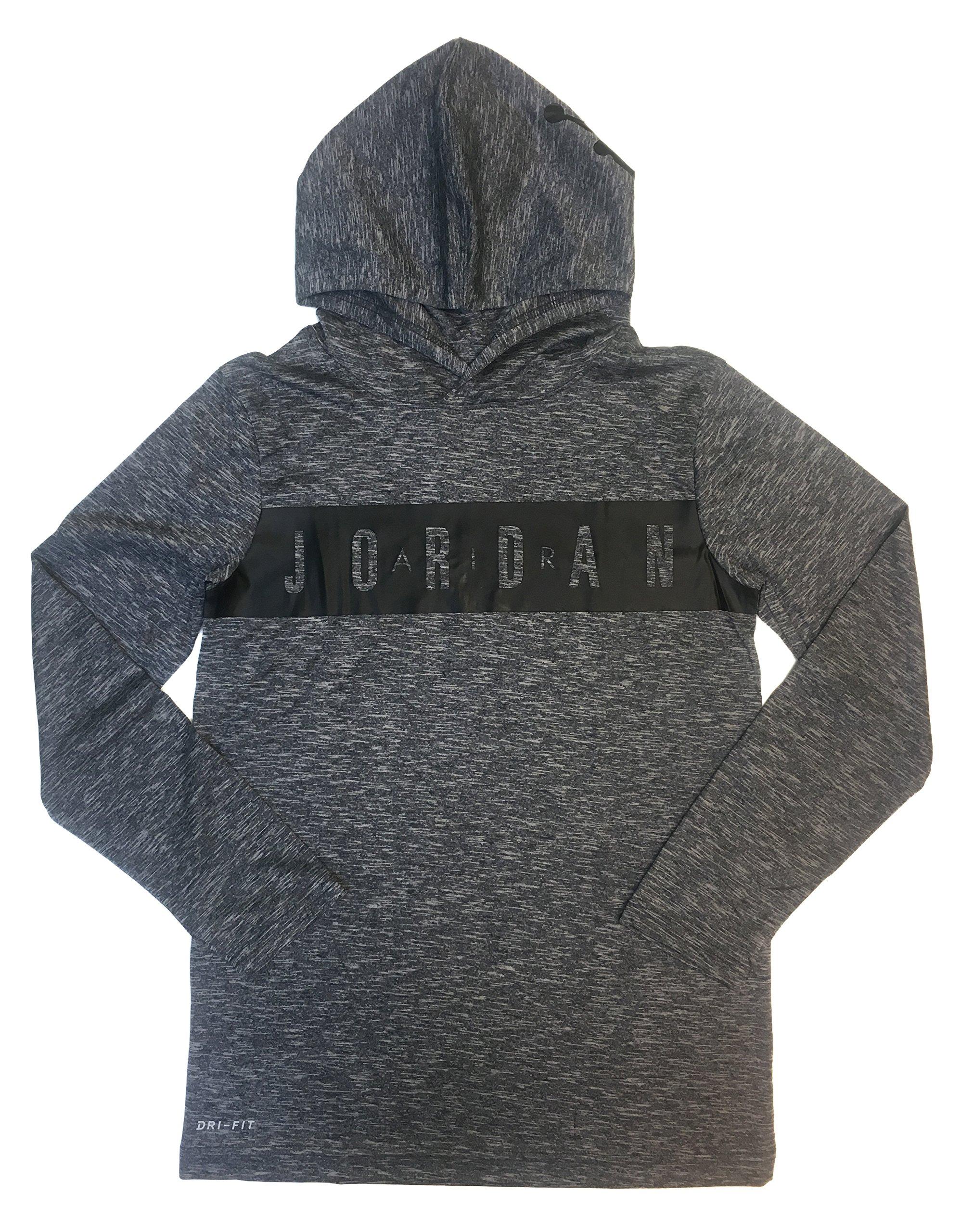 NIKE Air Jordan Boy's Lightweight Dri-Fit Breathe Hoodie (Large, Light Smoke Grey)