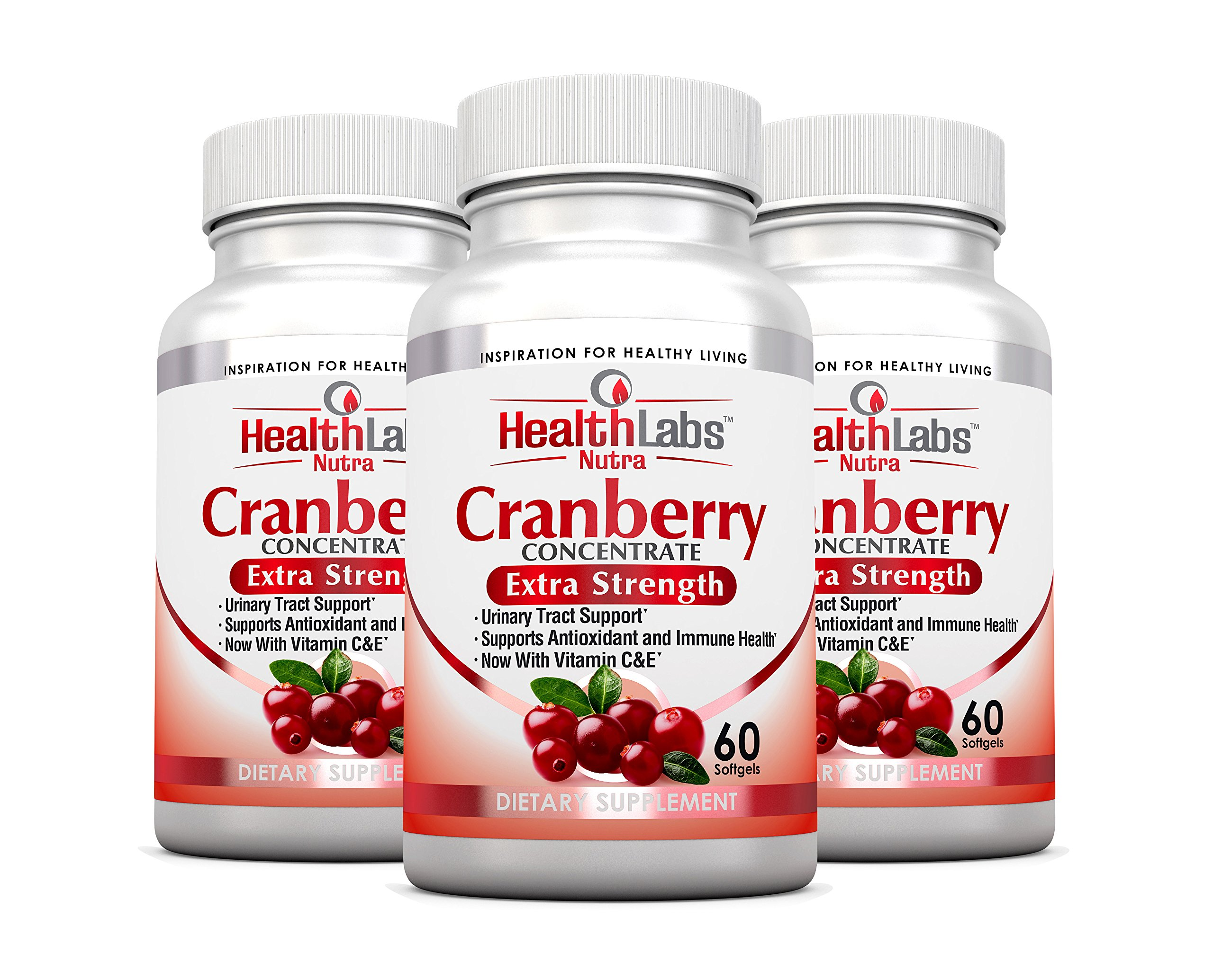 Health Labs Nutra 50:1 Triple-Strength Cranberry Concentrate 3-Month Supply with Vitamins C & E – Promotes Urinary Tract and Immune Support- (Pack of 3)