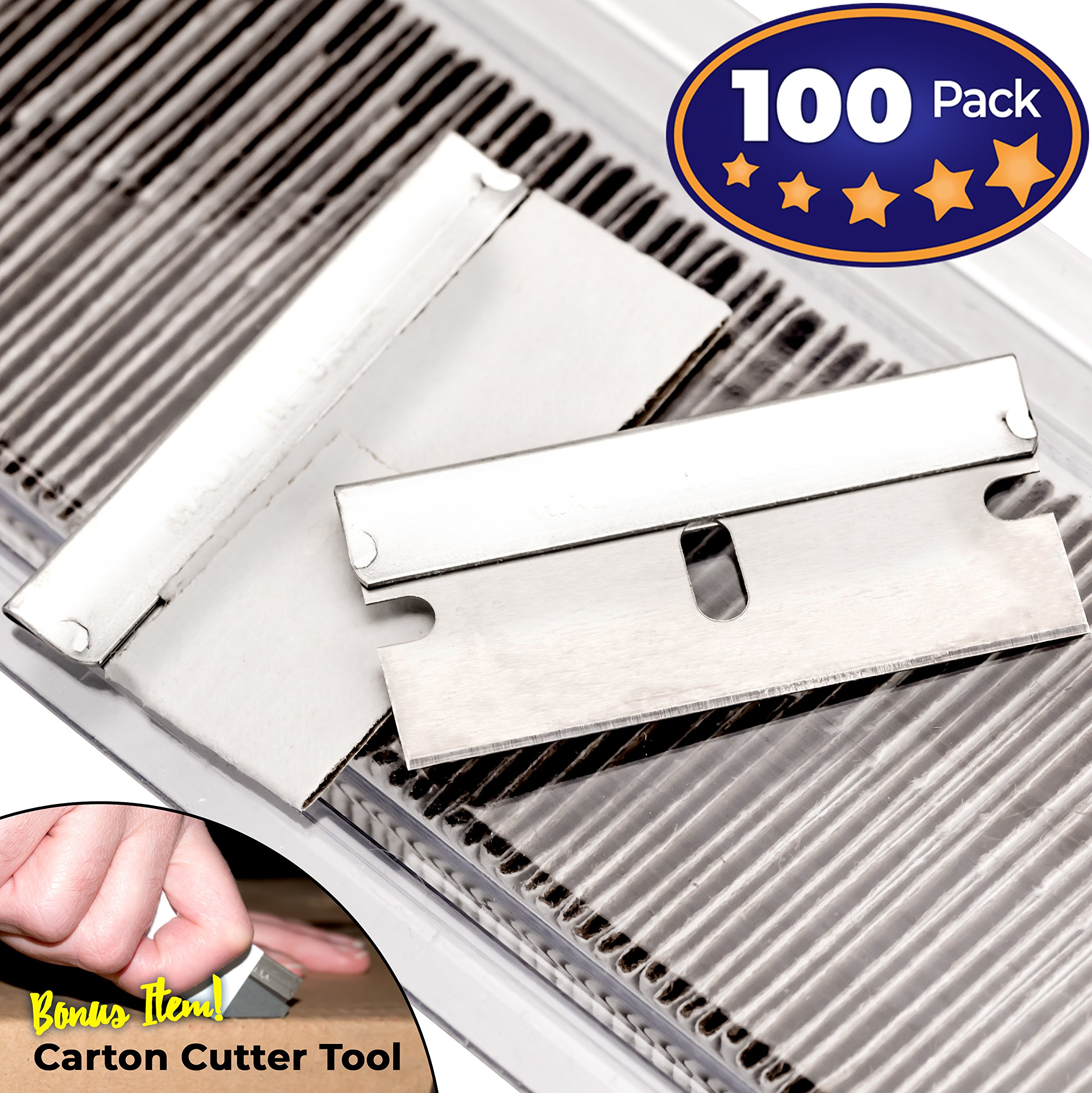 Ultra Sharp, USA-Made Steel Razor Scraper Blades Bulk 100 Pack by Nova Supply with Bonus Carton Cutter Tool! Strong Single Edge 1.5 in Blade for Scrapers and Cutting Tools in a Safe, Reclosable Box
