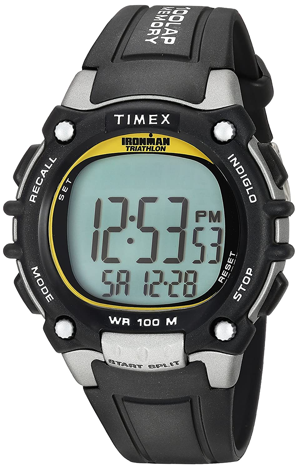5c0297445e2c Amazon.com  Timex Men s T5E231 Ironman Classic 100 Black Yellow Resin Strap  Watch  Timex  Watches