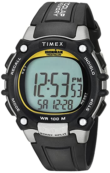 0b7ca4893f9c Amazon.com  Timex Men s T5E231 Ironman Classic 100 Black Yellow Resin Strap  Watch  Timex  Watches