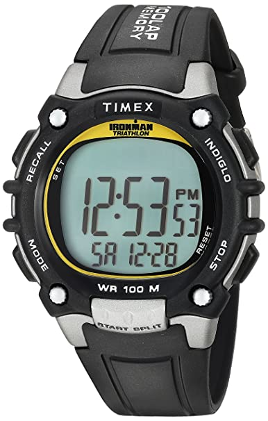 Timex Ironman Mens 100 - Reloj para hombre, color negro/amarillo highlights