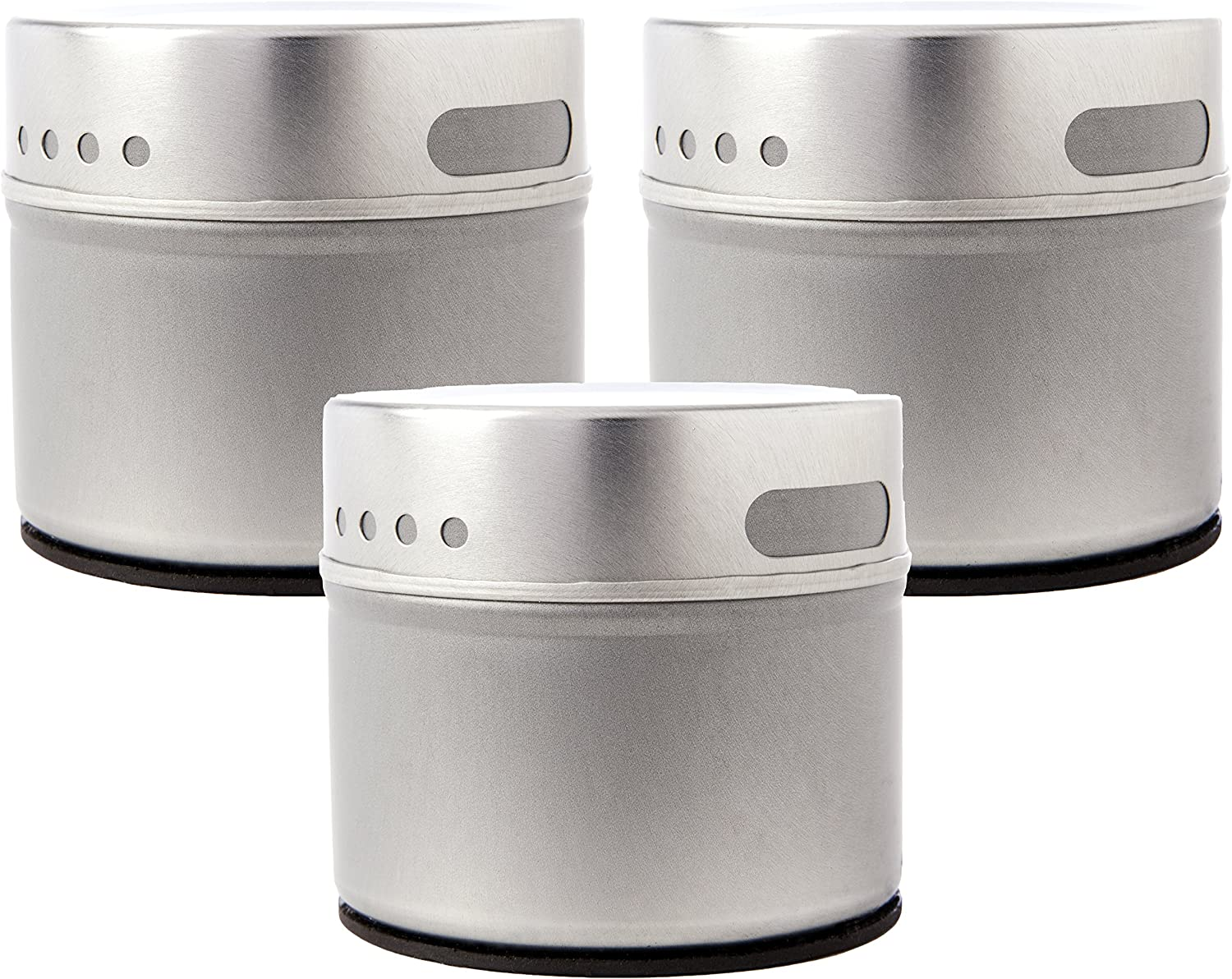 Set of 3 Magnetic Tins | Sift and Pour Lid | Spice Tins or Small Object Storage | 4oz. Volume | #P2