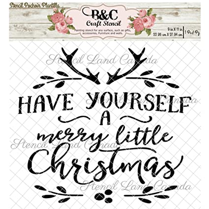 christmas words stencil quote have yourself a little merry christmas for craft and home decoration wood - Merry Christmas Words