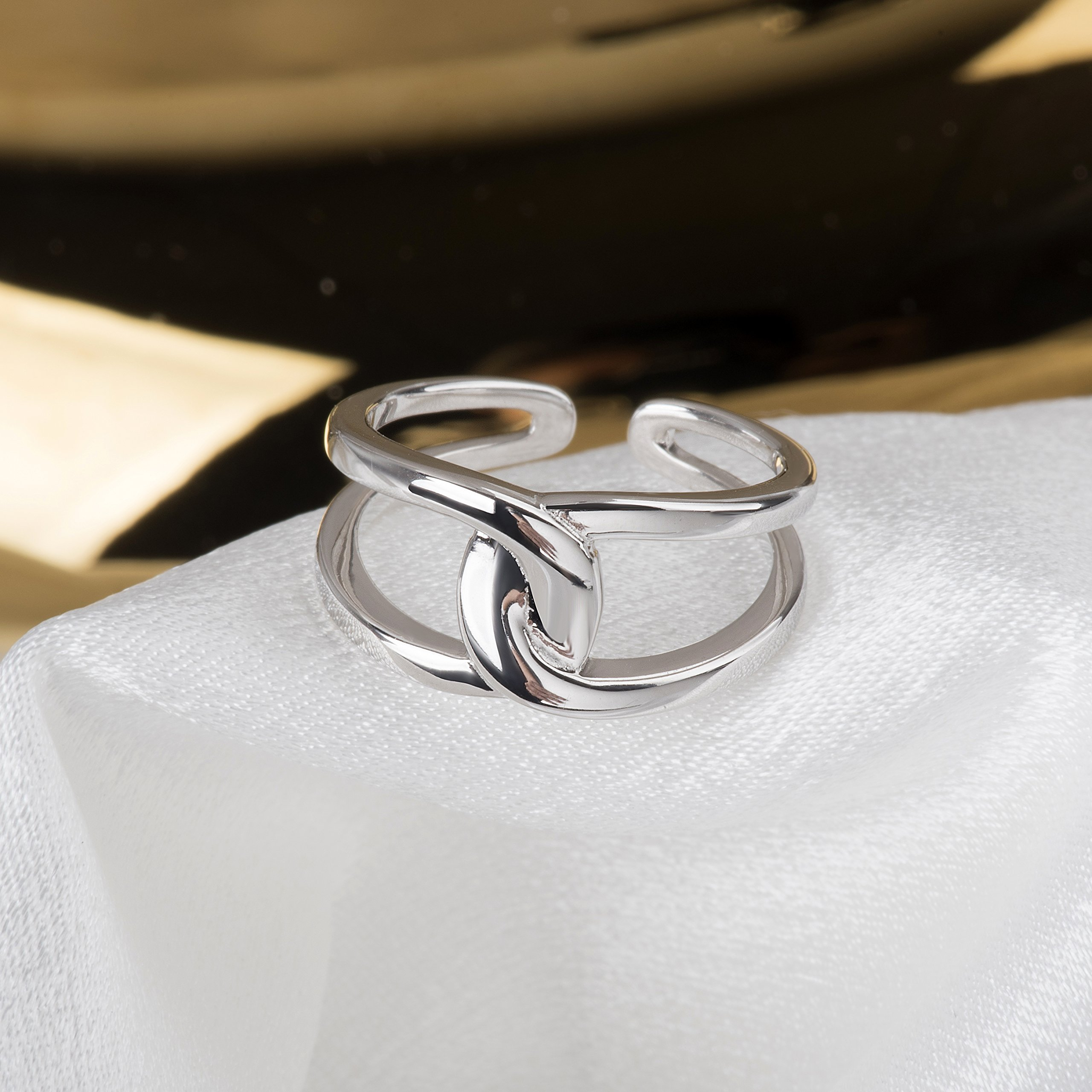 Fonsalette Gold Plated Infinity Ring Sterling Silver Open Twist Ring Two Band Ring (silver) by Fonsalette (Image #5)