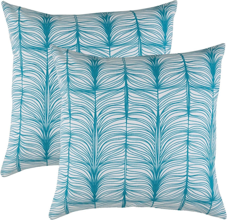 Lot de 2 Matrix Accent Housses de Coussin en Supreme doux Tissu de coton Treewool, 45 x 45 cm, Turquoise